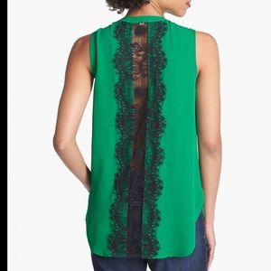 Emerald Green Top with black lace